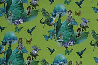Textil - Motýlie deti na hráškovozelenej úplet digi - 10298386_