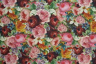Textil - Farebné ruže úplet digi - 10298415_