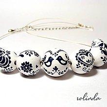 Náhrdelníky - Bílomodrý náhrdelník - 10296854_