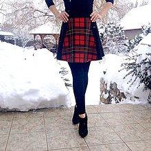 Sukne - Károvaná polkruhová sukňa z troch dielov ČERVENÁ - 10299474_