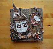 Dekorácie - Drev. dekorácia Domček s bodkami - 10299627_
