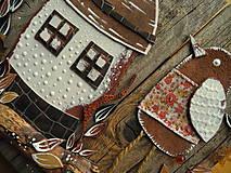 Dekorácie - Drev. dekorácia Domček s bodkami - 10299631_