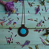 Náhrdelníky - Tyrkysový n.4 - šitý náhrdelník - 10297394_