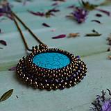 Náhrdelníky - Tyrkysový n.4 - šitý náhrdelník - 10297395_