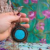 Náhrdelníky - Tyrkysový n.4 - šitý náhrdelník - 10297396_
