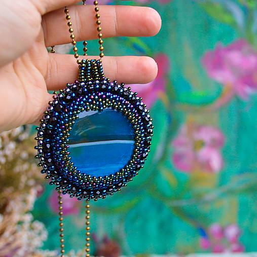 Achátový n.10 - šitý náhrdelník
