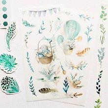 Papier - papierové nálepky Rozprávková vzducholoď - 2 hárky - 10297313_