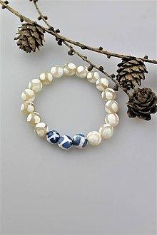 Náramky - achátový náramok bielo-modrý - 10299683_