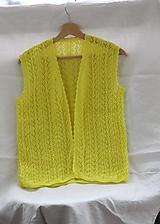 Pletené. Krajková vesta žiarivo žltá