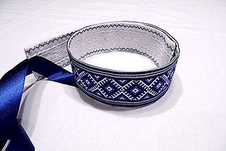 Opasky - Folk opasok modrý s krajkou - 10298733_