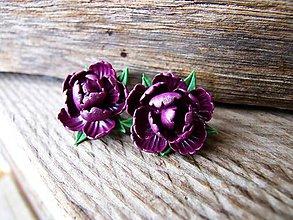 Náušnice - Fialové kvety - 10296907_