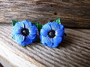 Náušnice - Modré anemonky - 10296934_