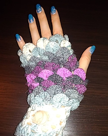 Rukavice - Háčkované bezprstové rukavice fialovo-sivé - 10299794_