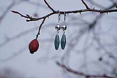 Náušnice - Náušnice striebristo - modré - 10299141_