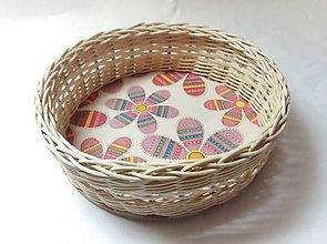 Košíky - Ružové kvety (kruh) - 10299659_