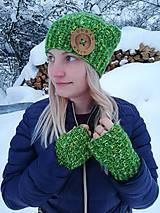 Čiapky - Čiapka zelena melirovana - 10296298_
