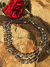Brúsený dymovo hnedý náhrdelník