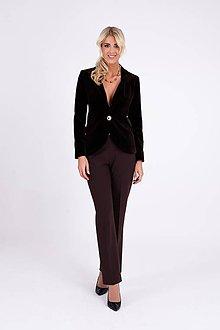 Kabáty - Luxusné zamatové sako hnedé - 10298644_