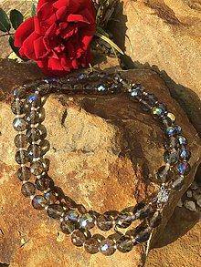 Náhrdelníky - Brúsený dymovo hnedý náhrdelník - 10298696_