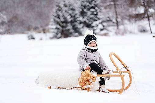 Detské súpravy - Zimný set čierny so zlatými srdiečkami - 10296395_