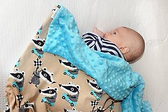 Textil - Minky deka celoročná 100x75cm jazvec tyrkis - 10298443_
