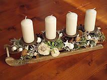 Svietidlá a sviečky - Adventný svietnik prírodné sánky so sviečkami - 10299586_
