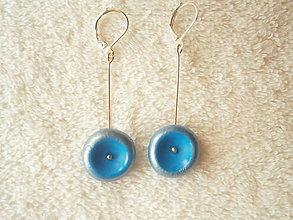 Náušnice - Náušnice z polyméru, modré misky - 10296511_