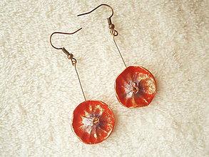 Náušnice - Náušnice z polyméru, červený kvet - 10296539_