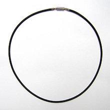 Suroviny - Guľatá kožená šnúrka čierna 2,5mm - 52cm s magnetickým zapínaním - 10297891_