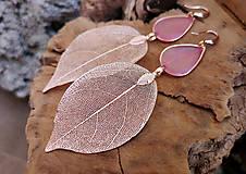 - Visiace náušnice živicové so zlatým  listom, striebro Ag - 10298240_