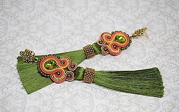 Náušnice - Šujtášové náušnice so strapcom, Zelená/Oranžová - 10302442_