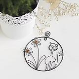 Dekorácie - mačička s kvetmi - 10299936_