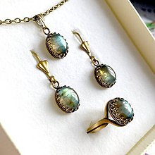 Sady šperkov - Vintage Bronze Natural Labradorite Set / Vintage sada šperkov s labradoritom prírodným v bronzovom prevedení /1435 - 10300851_