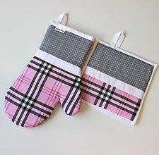 Úžitkový textil - set rukavica+chňapka Káro ružové - 10300059_