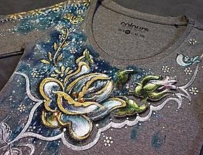 Tričká - folk ruža - tričko - 10302522_
