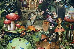 Textil - Čarovný les úplet digi - 10300782_