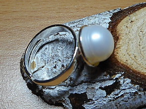 Prstene - ring with pearl in silver - 10303024_