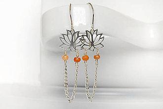 Náušnice - jemné lotosové s mesačným k. / Ag 925 - 10302417_
