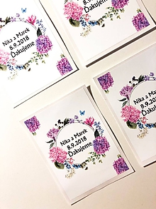 Darčeky pre svadobčanov - Etikety na svadobné víno (50ks) (levanduľové) - 10301896_