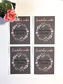 Darčeky pre svadobčanov - Etikety na svadobné víno (50ks) (ružové kvety) - 10301906_
