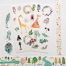 Papier - papierové nálepky Akvarelové zvieratká - 2 hárky - 10300173_