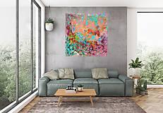 Obrazy - Keď sa váza s kyticou rozbije - veľký pestrofarebný abstrakt - 10300498_