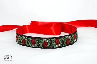 Opasky - Folk opasok 4,5cm Ružičky červený - 10301620_