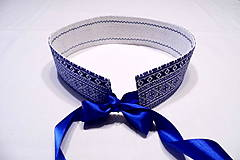 Opasky - folklórny opasok modrý - obojstranný s čipkou - 10300030_