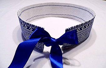 Opasky - folklórny opasok modrý - obojstranný s čipkou - 10300031_