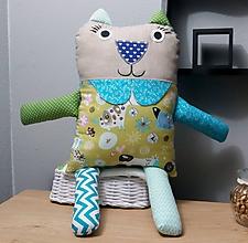 Úžitkový textil - Detský Vankúšik, mojkáčik a hračka 3v1 Macko a Mačička XXL (Mačička 3v1 XXL modrá tyrkys) - 10302978_