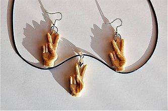 Sady šperkov - Set drevených náušníc a náhrdelníka - Peace - 10302362_
