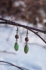 Náušnice - Mosadzné zelené - 10302450_