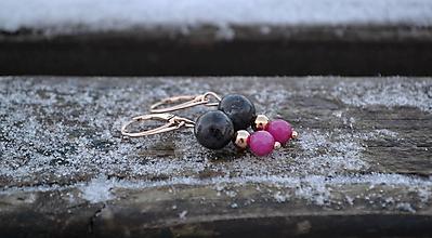 Náušnice - Jadeit, larvikit,  náušnice z pozláteného striebra ružovým zlatom - 10302329_