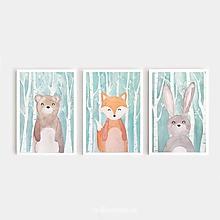 Obrazy - Medveď, líška, zajko - 10300206_